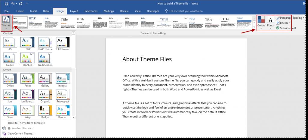 Microsoft Office Themes Ribbon
